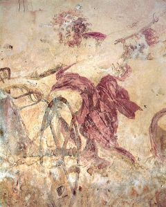 Hades abducting Persephone Wall painting in a royal tomb, Vergina Macedonia