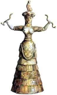 Minoan Snake Goddess Heraklion Museum Courtesy of Wikipedia