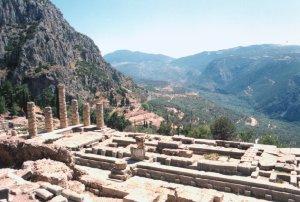 Temple of Apollo Delphi, Greece http://commons.wikimedia.org/wiki/File:Delphi_Apollo_Temple.jpg
