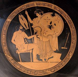 Hephaestus hands in the new Achilles' armour to Thetis  Attic red-figure Kylix, 490–480 BC.