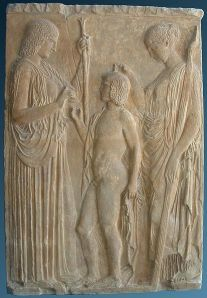 Demeter, Kore and Triptolemos