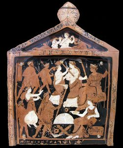 Votive plaque depicting elements of the Eleusinian Mysteries. National Archaeological Museum, Athens