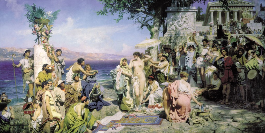 Phryne on the Poseidon's celebration in Eleusis (1889) Henryk Siemiradski State Russian Museum