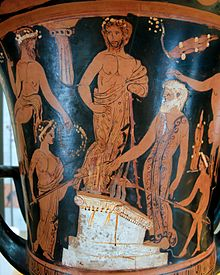 Nestor and his sons sacrifice to Poseidon on the beach at Pylos (Attic red-figure calyx-krater, 400–380 BC) Wikipedia