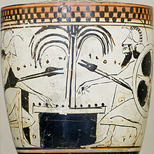 Achilles and Ajax play a board game with knucklebones on this late 6th-centurylekythos, a type of oil-storing vessel associated with funeral rites   Diosphos Painter  500 BCE  Louvre Museum courtesy of Wikipedia