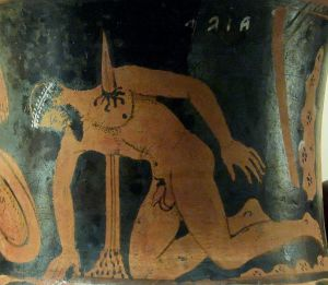 The suicide of Ajax the Great. Etrurian red-figured calyx-krater,  ca. 400–350 BC. Vulci  British Museum  Courtesy of Wikipedia