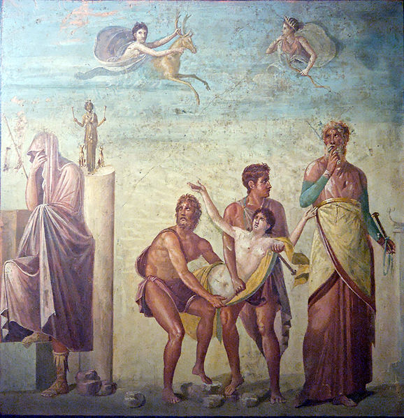Iphigeneia carried to the sacrifice (centre) while the seer Calchas (on the right) watches on and Agamemnon (on the left) covers his head in sign of deploration. In the sky, Artemis appears with a hind which will be substituted to the young girl. 1st century AD Naples National Archaeological Museum  From a house in Pompeii