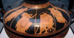 The embassy to Achilles (book 9 of the Iliad): Phoenix and Odysseus in front of Achilles.  Circa 480 BC Photographer: Bibi Saint-Pol Wikipedia