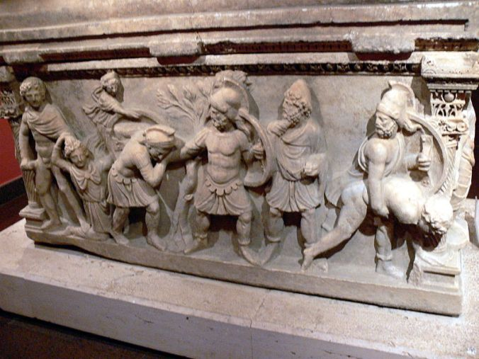 Scenes of the Trojan War Odysseus second from left Antalya Archaeological Museum Wikipedia