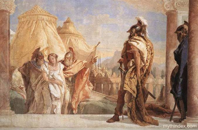 Agamemnon, the king, has demanded that Achilles turn over Briseis (a war prize) to him.  The woman is brought to Agamemnon by two soldiers - Eurybates and Talthybios. Giovanni Battista Tiepolo painted this fresco in 1757.   Villa Valmarana in Venice, Italy. Wikimedia commons