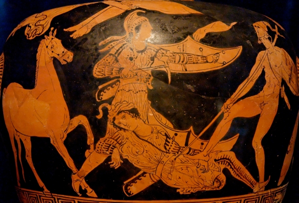 Patroclus (naked, on the right) kills Sarpedon (wearing Lycian clothes, on the left) with his spear, while Glaucus comes to the latter's help., ca. 400 BC.  Museo Nazionale Archaeologico of Policoro. AuthorJastrow Wikipedia