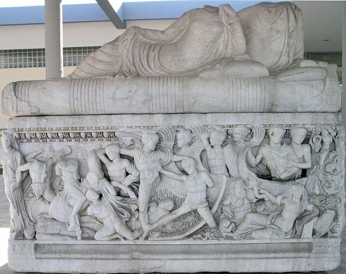 Sculpted neo attic sarcophagus representing the battle at the ships in the Trojan war, circa 3rd C AD Thessaloniki Archaeological Museum Photograph taken by Marsyas Wikipedia