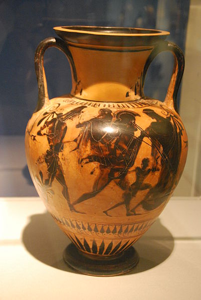 Aeneas fleeing with Anchisis, Iulos and a fourth person from Troy, protected by Aphrodite circa 510 BC; found in Etruria  Kestner-Museum, Hanover Germany  Picture taken by Marcus Cyron Wikipedia