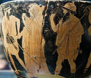 The taking away of Briseis, side B of a red-figure Attic skyphos. Ca. 480 BC Louvre Museum  Wikimedia commons