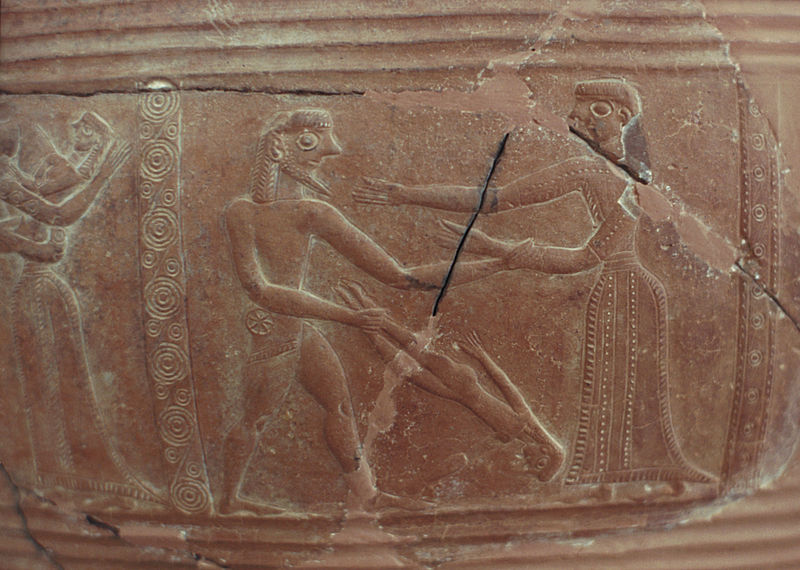 The Sacking of Troy Relief on pithos 675-650 BCE, found on Mykonos Archaeological Museum of Mykonos Wikipedia