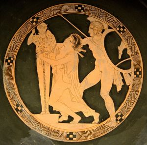 Ajax the Lesser raping Cassandra. Tondo of an Attic red-figure cup, ca. 440-430 BC. Louvre Museum  Photographer: Bibi Saint-Pol, Wikipedia