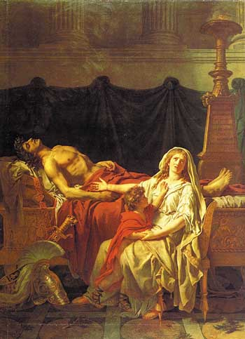 Andromache mourns Hector's death Jacques-Louis David (1783) Wikipedia