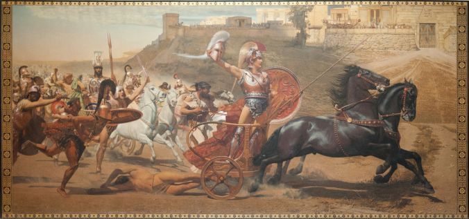 Triumphant Achilles: Achilles dragging the dead body of Hector in front of the gates of Troy. The original painting is a fresco on the upper level of the main hall of the Achilleion at Corfu, Greece. Franz von Matsch (1861–1942)  Wikimedia