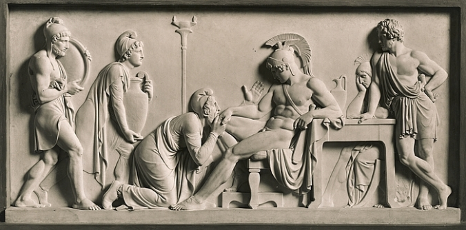 Priam beseeches Akhilleus for Hektor's corpse Bertel Thorvaldsen 1815 Wikimedia