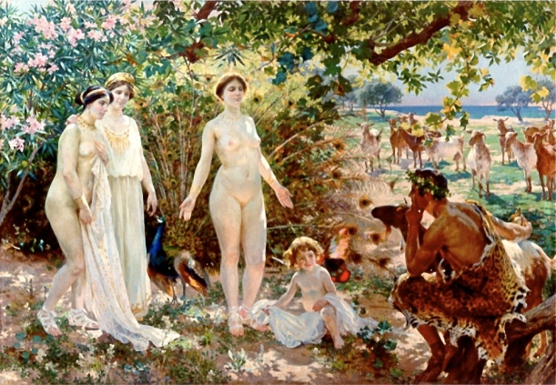 Enrique Simonet (1866–1927)  Spanish: El juicio de Paris The Judgement of Paris The painting shows the Judgment of Paris, an event in Greek mythology. Figures, from left to right: The goddesses Athena, Hera and Aphrodite, then Aphrodite's son, Eros, and Paris. 1904 Museum of Málaga  Wikimedia