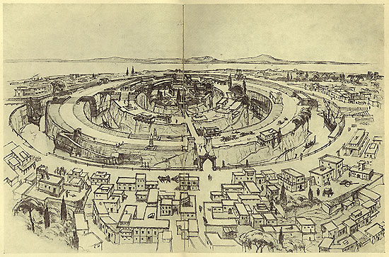 Reconstruction of the capital of Atlantis according to Plato's description, drawn by Walter Heiland in Albert Herrmann's Unsere Ahnen und Atlantis (1934) Wikipedia