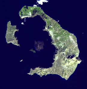 Santorini. Clockwise from center: Nea Kameni; Palea Kameni; Aspronisi; Therasia; Thera Santorini island, Greece EOS photo NASA, public domain
