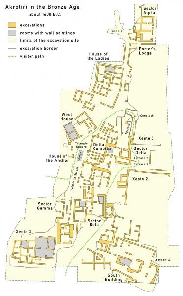 Plan of Akrotiri by Maximilian Dörrbecker  http://www.ancient.eu/thera/