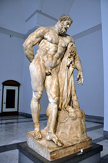 One of the most famous depictions of Heracles, originally by Lysippos (Marble, Roman copy called Hercules Farnese, 216  Courtesy of Wikipedia