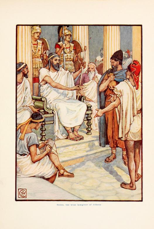 """Solon, the wise lawgiver of Athens"" by Walter Crane - The story of Greece : told to boys and girls (191-?) by Macgregor, Mary. Licensed under Public Domain via Wikimedia Commons - https://commons.wikimedia.org/wiki/File:Solon,_the_wise_lawgiver_of_Athens.jpg#/media/File:Solon,_the_wise_lawgiver_of_Athens.jpg"