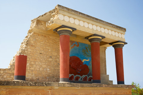 Part of the reconstruction at the Palace of Knossos Image courtesy of http://www.greek-thesaurus.gr/Minoan-civilization.html