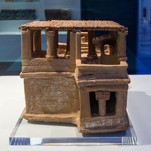A clay minoan model (restored) of a house. ca.1600 BCE. Archaeological Museum of Heraklion  AuthorJebulon
