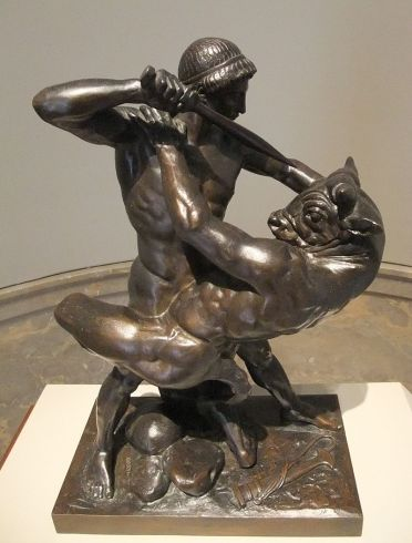 Theseus Slaying Minotaur (1843), bronze sculpture by Antoine-Louis Barye Image courtesy of Wikimedia