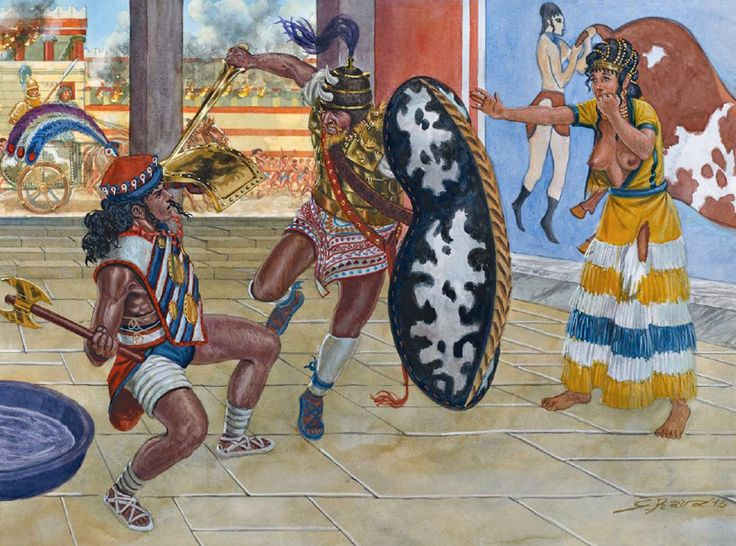 """""""The Achaean conquest of Knossos, 1.430 BC"""" Artwork by Giuseppe Rava, 2015"""