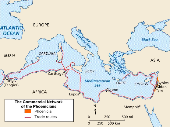 Phoenician trade routes Image courtesy of Wikipedia